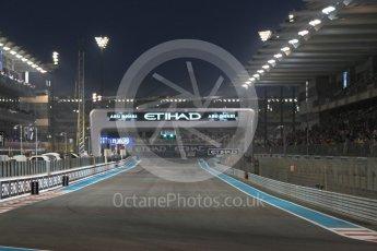 World © Octane Photographic Ltd. Illuminated start/finish straight. Friday 25th November 2016, F1 Abu Dhabi GP - Practice 2, Yas Marina circuit, Abu Dhabi. Digital Ref :