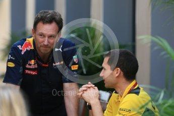 World © Octane Photographic Ltd. Red Bull Racing Team Principal - Christian Horner with Rene Taffin - Renault Sport F1 Engine Technical Director. Friday 25th November 2016, F1 Abu Dhabi GP - Practice 2, Yas Marina circuit, Abu Dhabi. Digital Ref :