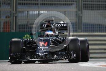 World © Octane Photographic Ltd. McLaren Honda MP4-31 – Fernando Alonso. Friday 25th November 2016, F1 Abu Dhabi GP - Practice 2, Yas Marina circuit, Abu Dhabi. Digital Ref :