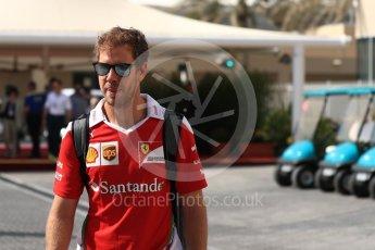 World © Octane Photographic Ltd. Scuderia Ferrari SF16-H – Sebastian Vettel. Saturday 26th November 2016, F1 Abu Dhabi GP - Paddock, Yas Marina circuit, Abu Dhabi. Digital Ref : 1764LB1D0379
