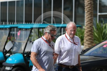 World © Octane Photographic Ltd. Helmut Marko - advisor to the Red Bull Racing and Carlos Sainz Sr. Saturday 26th November 2016, F1 Abu Dhabi GP - Paddock, Yas Marina circuit, Abu Dhabi. Digital Ref : 1764LB1D9658