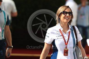 World © Octane Photographic Ltd. Claire Williams - deputy team principal of the Williams Formula One racing team. Saturday 26th November 2016, F1 Abu Dhabi GP - Paddock, Yas Marina circuit, Abu Dhabi. Digital Ref : 1764LB1D9667
