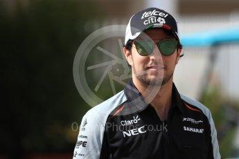 World © Octane Photographic Ltd. Sahara Force India VJM09 - Sergio Perez. Saturday 26th November 2016, F1 Abu Dhabi GP - Paddock, Yas Marina circuit, Abu Dhabi. Digital Ref : 1764LB1D9853