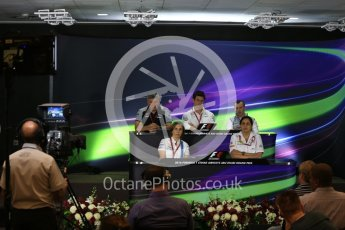 World © Octane Photographic Ltd. F1 GP FIA Personnel Press Conference, Yas Marina circuit, Abu Dhabi. Friday 25th November 2016. Stephen Fitzpatrick – owner of Manor Racing , Monisha Kaltenborn – Team Principal Sauber F1 Team , Otmar Szafnauer – COO (Chief Operating Officer) Sahara Force India, Claire Williams – Deputy Team Principal Williams Martini Racing, Toto Wolff – Executive Director Mercedes AMG Petronas. Digital Ref :