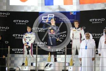 World © Octane Photographic Ltd. Prema Racing – Pierre Gasly, ART Grand Prix – Nobuharu Matsushita and Russian Time – Artem Markelov. Saturday 26th November 2016, GP2 Race 1, Yas Marina Circuit, Abu Dhabi. Digital Ref :