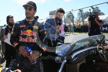 World © Octane Photographic Ltd. Red Bull Racing – Daniel Ricciardo. Sunday 20th March 2016, F1 Australian GP - Drivers Parade, Melbourne, Albert Park, Australia. Digital Ref : 1523LB5D2037