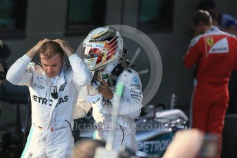 World © Octane Photographic Ltd. Mercedes AMG Petronas – Lewis Hamilton and Nico Rosberg. Sunday 20th March 2016, F1 Australian GP Race – Parc Ferme, Melbourne, Albert Park, Australia. Digital Ref : 1525LB1D7465