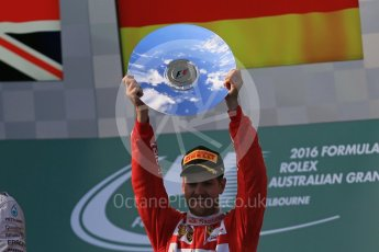 World © Octane Photographic Ltd. Scuderia Ferrari – Sebastian Vettel. Sunday 20th March 2016, F1 Australian GP Race - Podium, Melbourne, Albert Park, Australia. Digital Ref : 1525LB1D7927