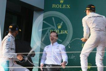 World © Octane Photographic Ltd. Mercedes AMG Petronas – Nico Rosberg and Lewis Hamilton. Sunday 20th March 2016, F1 Australian GP Race - Podium, Melbourne, Albert Park, Australia. Digital Ref : 1525LB1D7946