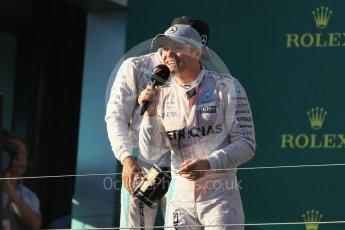 World © Octane Photographic Ltd. Mercedes AMG Petronas – Nico Rosberg. Sunday 20th March 2016, F1 Australian GP Race - Podium, Melbourne, Albert Park, Australia. Digital Ref : 1525LB1D8173