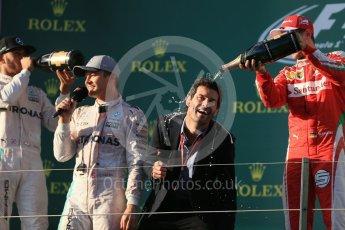 World © Octane Photographic Ltd. Scuderia Ferrari – Sebastian Vettel and Mark Webber. Sunday 20th March 2016, F1 Australian GP Race - Podium, Melbourne, Albert Park, Australia. Digital Ref : 1525LB1D8191