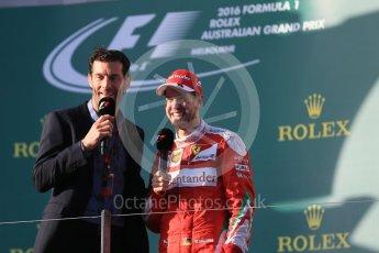 World © Octane Photographic Ltd. Scuderia Ferrari – Sebastian Vettel and Mark Webber. Sunday 20th March 2016, F1 Australian GP Race - Podium, Melbourne, Albert Park, Australia. Digital Ref : 1525LB1D8334