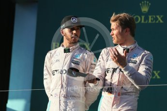 World © Octane Photographic Ltd. Mercedes AMG Petronas – Nico Rosberg and Lewis Hamilton. Sunday 20th March 2016, F1 Australian GP Race - Podium, Melbourne, Albert Park, Australia. Digital Ref : 1525LB1D8390