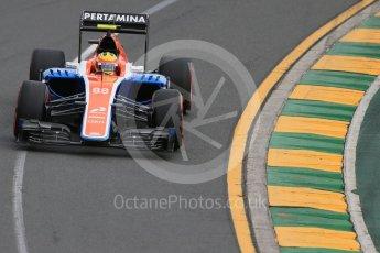 World © Octane Photographic Ltd. Manor Racing MRT05 – Rio Haryanto. Saturday 19th March 2016, F1 Australian GP Qualifying, Melbourne, Albert Park, Australia. Digital Ref : 1521LB1D5103