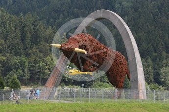 World © Octane Photographic Ltd. Scuderia TV Helicopter flying behind the Red Bull Ring statue. Friday 1st July 2016, F1 Austrian GP Practice 1, Red Bull Ring, Spielberg, Austria. Digital Ref : 1598CB5D2771