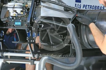 World © Octane Photographic Ltd. Williams Martini Racing, Williams Mercedes FW38 undertray and turning vanes. Friday 1st July 2016, F1 Austrian GP Practice 1, Red Bull Ring, Spielberg, Austria. Digital Ref : 1598CB5D2863