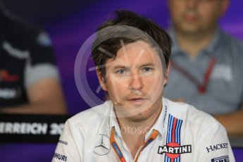 World © Octane Photographic Ltd. F1 Austrian GP FIA Personnel Press Conference, Red Bull Ring, Spielberg, Austria. Friday 1st July 2016. Rob Smedley - Williams Martini Racing Head of Vehicle Performance. Digital Ref :1602LB1D6749