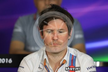 World © Octane Photographic Ltd. F1 Austrian GP FIA Personnel Press Conference, Red Bull Ring, Spielberg, Austria. Friday 1st July 2016. Rob Smedley - Williams Martini Racing Head of Vehicle Performance. Digital Ref :1602LB1D6831
