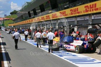 World © Octane Photographic Ltd. The pitlane after team setup. Friday 1st July 2016, GP2 Practice, Red Bull Ring, Spielberg, Austria. Digital Ref : 1599CB5D2934