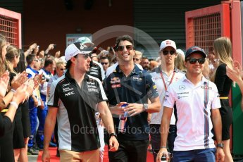 World © Octane Photographic Ltd. Sahara Force India VJM09 - Sergio Perez and Williams Martini Racing, Williams Mercedes FW38 – Felipe Massa. Sunday 28th August 2016, F1 Belgian GP Driver Parade, Spa-Francorchamps, Belgium. Digital Ref : 1691LB1D2100