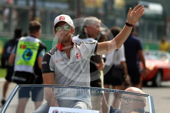 World © Octane Photographic Ltd. Haas F1 Team VF-16 – Romain Grosjean. Sunday 28th August 2016, F1 Belgian GP Driver Parade, Spa-Francorchamps, Belgium. Digital Ref : 1691LB1D2155