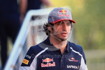 World © Octane Photographic Ltd. Scuderia Toro Rosso – Carlos Sainz. Friday 26th August 2016, F1 Belgian GP Paddock, Spa-Francorchamps, Belgium. Digital Ref : 1679LB1D6132
