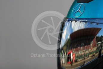 World © Octane Photographic Ltd. Mercedes AMG Petronas team head gear. Saturday 27th August 2016, F1 Belgian GP Practice 3, Spa-Francorchamps, Belgium. Digital Ref : 1687LB1D8818