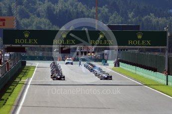 World © Octane Photographic Ltd. Rapax - GP2/11 – Gustav Malja leads the race start. Sunday 28th August 2016, GP2 Race 2, Spa-Francorchamps, Belgium. Digital Ref : 1690LB1D1731
