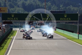World © Octane Photographic Ltd. Rapax - GP2/11 – Gustav Malja leads the race start. Sunday 28th August 2016, GP2 Race 2, Spa-Francorchamps, Belgium. Digital Ref : 1690LB1D1748