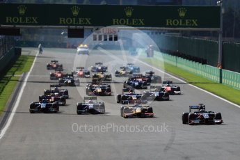 World © Octane Photographic Ltd. Rapax - GP2/11 – Gustav Malja leads the race start. Sunday 28th August 2016, GP2 Race 2, Spa-Francorchamps, Belgium. Digital Ref : 1690LB1D1778