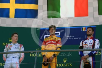 World © Octane Photographic Ltd. Prema Racing - GP2/11 – Antonia Giovinazzi, Rapax - GP2/11 – Gustav Malja and Trident - GP2/11 – Luca Ghiotto. Sunday 28th August 2016, GP2 Race 2, Spa-Francorchamps, Belgium. Digital Ref : 1690LB2D4571