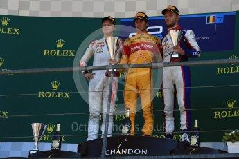 World © Octane Photographic Ltd. Prema Racing - GP2/11 – Antonia Giovinazzi, Rapax - GP2/11 – Gustav Malja and Trident - GP2/11 – Luca Ghiotto. Sunday 28th August 2016, GP2 Race 2, Spa-Francorchamps, Belgium. Digital Ref : 1690LB2D4625