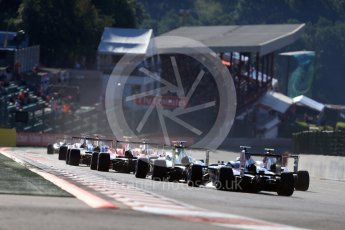 World © Octane Photographic Ltd. Grid goes around Turn 1. Sunday 28th August 2016, GP3 Race 2, Spa-Francorchamps, Belgium. Digital Ref : 1689LB1D1172