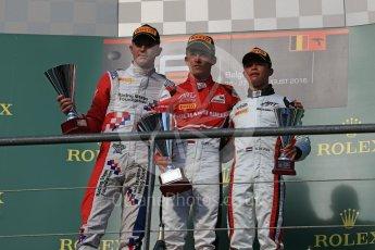 World © Octane Photographic Ltd. ART Grand Prix – GP3/16 – Charles Leclerc, Arden International – GP3/16 – Jake Dennis and Grand Prix – GP3/16 – Nyck de Vries. Saturday 27th August 2016, GP3 Race 1, Spa-Francorchamps, Belgium. Digital Ref : 1683LB1D1009