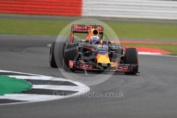 World © Octane Photographic Ltd. Red Bull Racing RB12 – Daniel Ricciardo. Friday 8th July 2016, F1 British GP Practice 1, Silverstone, UK. Digital Ref : 1619LB1D0762