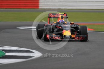 World © Octane Photographic Ltd. Red Bull Racing RB12 – Max Verstappen. Friday 8th July 2016, F1 British GP Practice 1, Silverstone, UK. Digital Ref : 1619LB1D0791