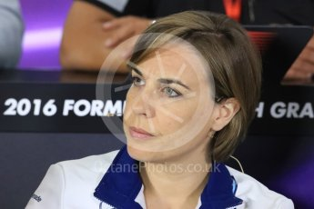 World © Octane Photographic Ltd. F1 British GP FIA Personnel Press Conference, Silverstone, UK. Friday 8th July 2016. Claire Williams - Williams Martini Racing Deputy Team Principal. Digital Ref : 1624LB1D2751