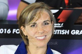 World © Octane Photographic Ltd. F1 British GP FIA Personnel Press Conference, Silverstone, UK. Friday 8th July 2016. Claire Williams - Williams Martini Racing Deputy Team Principal. Digital Ref : 1624LB1D2784