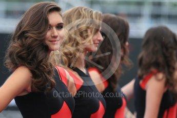 World © Octane Photographic Ltd. Grid Girls. Sunday 12th June 2016, F1 Canadian GP Drivers' parade, Circuit Gilles Villeneuve, Montreal, Canada. Digital Ref :1591LB1D2909