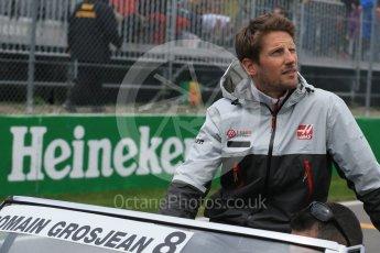 World © Octane Photographic Ltd. Haas F1 Team – Romain Grosjean. Sunday 12th June 2016, F1 Canadian GP Drivers' parade, Circuit Gilles Villeneuve, Montreal, Canada. Digital Ref :1591LB1D3107