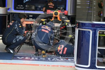 World © Octane Photographic Ltd. Red Bull Racing RB12 being assembled – Max Verstappen. Thursday 9th June 2016, F1 Canadian GP Pitlane, Circuit Gilles Villeneuve, Montreal, Canada. Digital Ref :1581LB1D9108