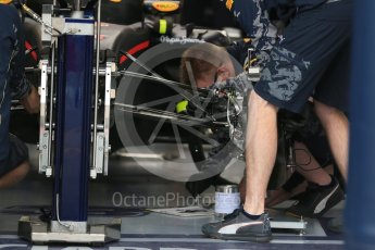 World © Octane Photographic Ltd. Red Bull Racing RB12 front suspension and front brakes – Max Verstappen. Thursday 9th June 2016, F1 Canadian GP Pitlane, Circuit Gilles Villeneuve, Montreal, Canada. Digital Ref :1581LB1D9121
