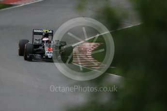World © Octane Photographic Ltd. McLaren Honda MP4-31 – Jenson Button. Friday 10th June 2016, F1 Canadian GP Practice 1, Circuit Gilles Villeneuve, Montreal, Canada. Digital Ref : 1586LB1D9842