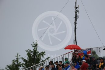 World © Octane Photographic Ltd. Fans with umbrella. Saturday 11th June 2016, F1 Canadian GP Practice 3, Circuit Gilles Villeneuve, Montreal, Canada. Digital Ref :1588LB1D1219