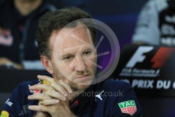 World © Octane Photographic Ltd. F1 Canadian GP FIA Personnel Press Conference, Circuit Gilles Villeneuve, Montreal, Canada. Friday 10th June 2016. Christian Horner – Team Principal Red Bull Racing. Digital Ref :1585LB1D0729