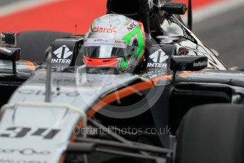 World © Octane Photographic Ltd. Sahara Force India VJM09 – Alfonso Celis. Tuesday 17th May 2016, F1 Spanish In-season testing, Circuit de Barcelona Catalunya, Spain. Digital Ref : 1555CB1D2549