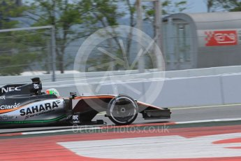 World © Octane Photographic Ltd. Sahara Force India VJM09 – Alfonso Celis. Tuesday 17th May 2016, F1 Spanish GP In-season testing, Circuit de Barcelona Catalunya, Spain. Digital Ref :1555LB1D0016