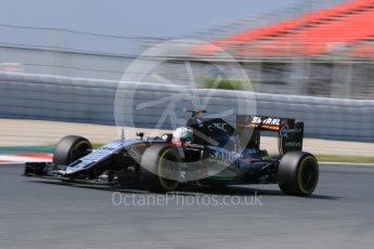 World © Octane Photographic Ltd. Sahara Force India VJM09 - Alfonso Celis. Wednesday 18th May 2016, F1 Spanish GP In-season testing, Circuit de Barcelona Catalunya, Spain. Digital Ref : 1556CB7D9228
