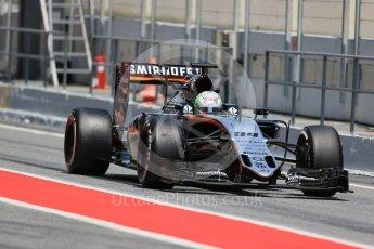 World © Octane Photographic Ltd. Sahara Force India VJM09 - Alfonso Celis. Wednesday 18th May 2016, F1 Spanish GP In-season testing, Circuit de Barcelona Catalunya, Spain. Digital Ref : 1556LB1D0951