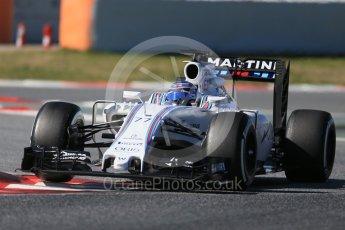 World © Octane Photographic Ltd. Williams Martini Racing, Williams Mercedes FW38 – Valtteri Bottas. Tuesday 1st March 2016, F1 Winter testing, Circuit de Barcelona Catalunya, Spain, Day 5. Digital Ref : 1508LB1D4384
